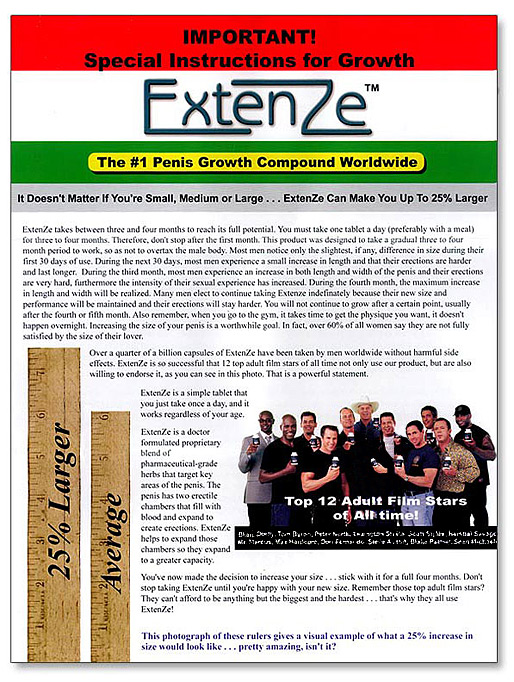 Extenze Supplement Facts