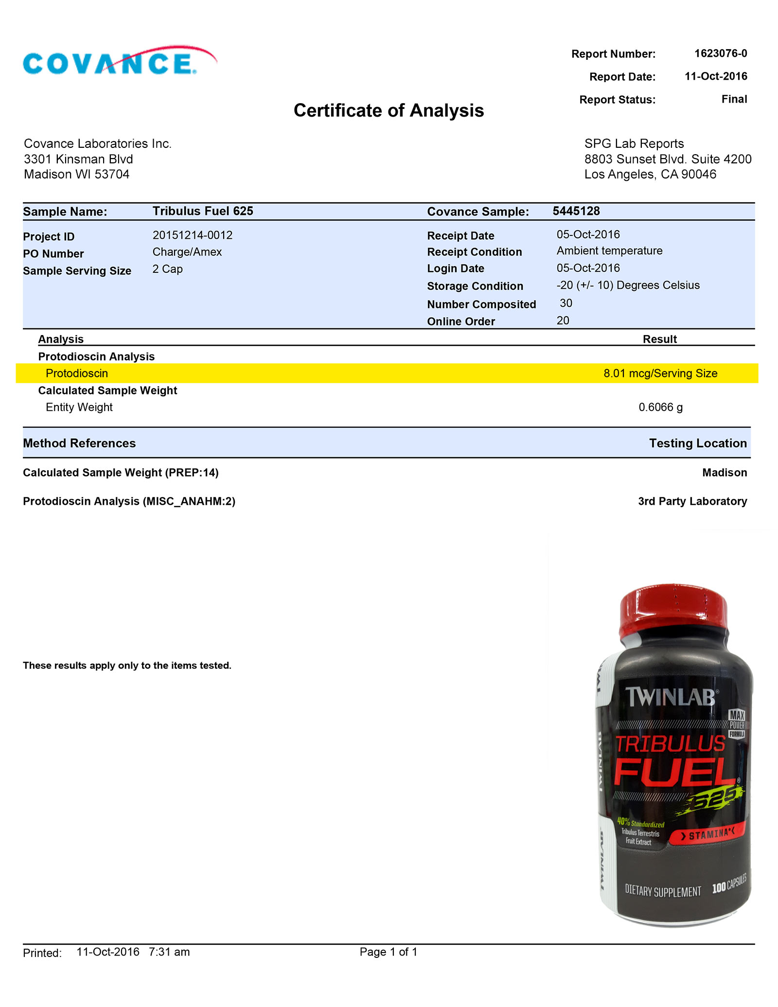 Lab Report - Tribulus Fuel